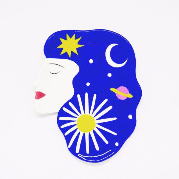 Cosmic Hair Girl Plate (Moon & Sun)