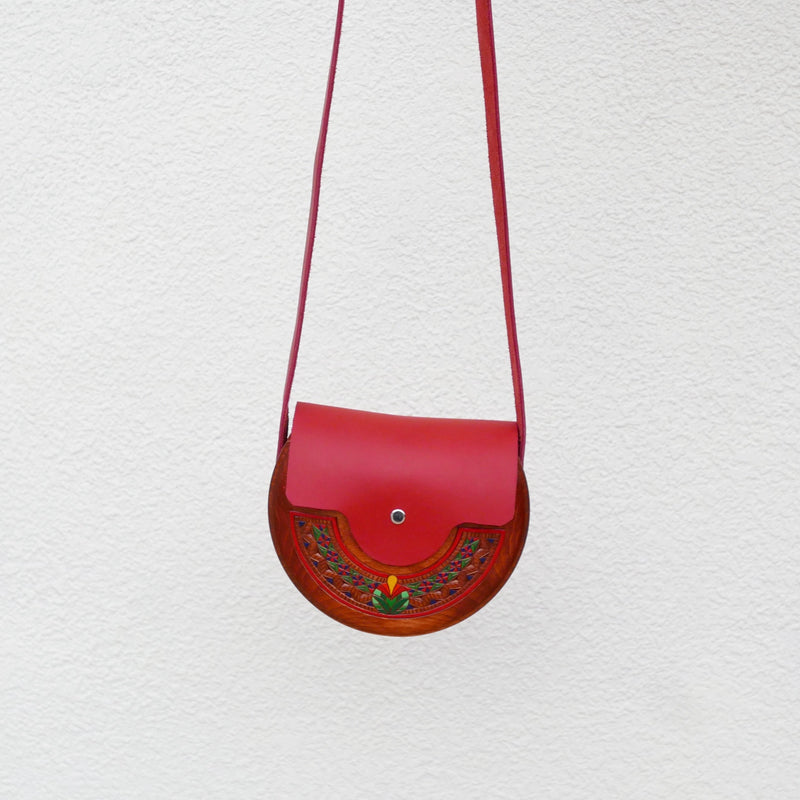 Wooden Bags (Half-Round 2 . red leather / cherry wood / coloured patterns)