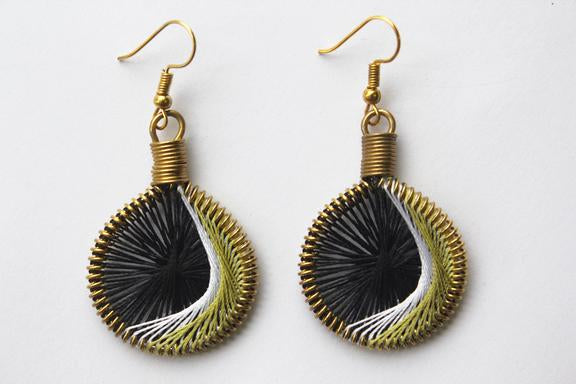 Drop Earrings Not Bomb - Ripples (Hilal - Olive)