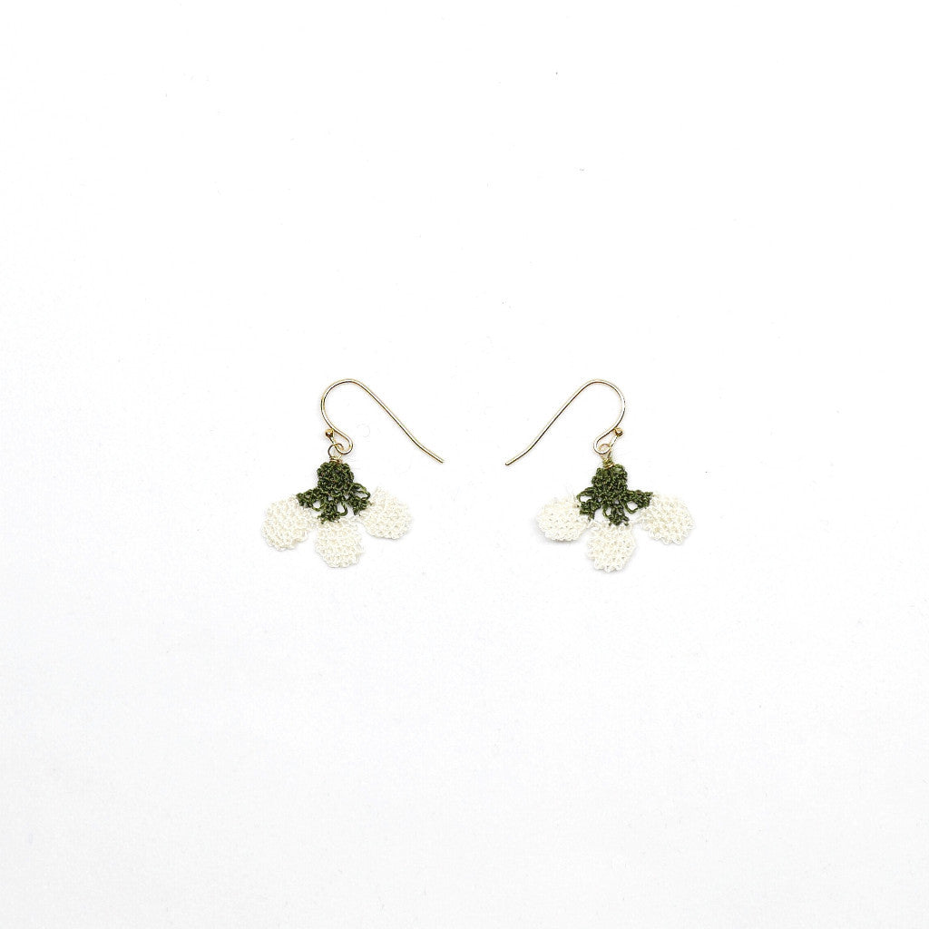 Little Strawberry Earrings (White) . 麻織士多啤梨耳環(白色)