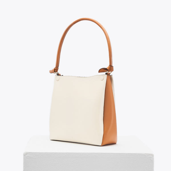 Mini Two-Tone Tote (oat & caramel)