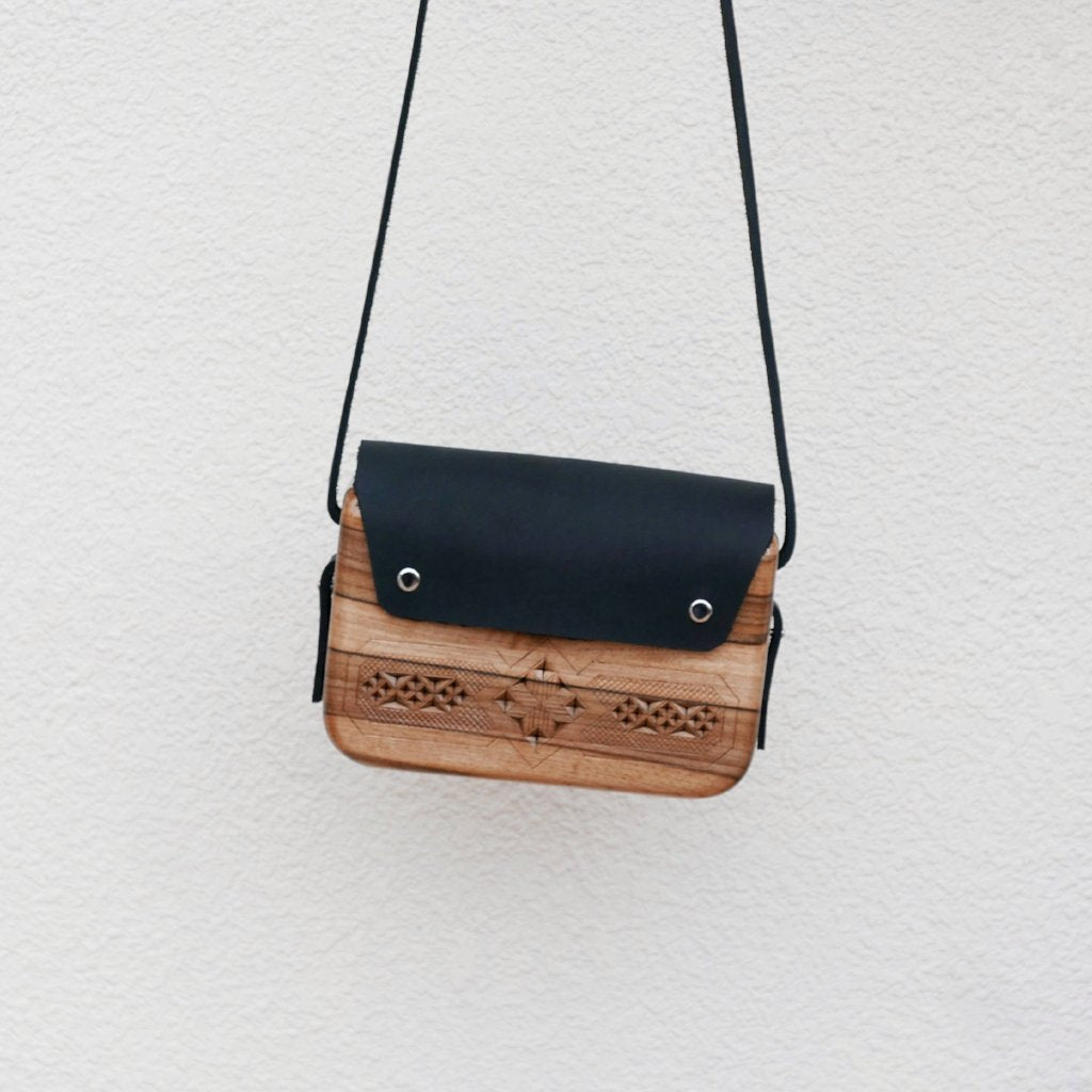 Wooden Bags (Rectangle: Black Leather / Walnut Wood / Plain)