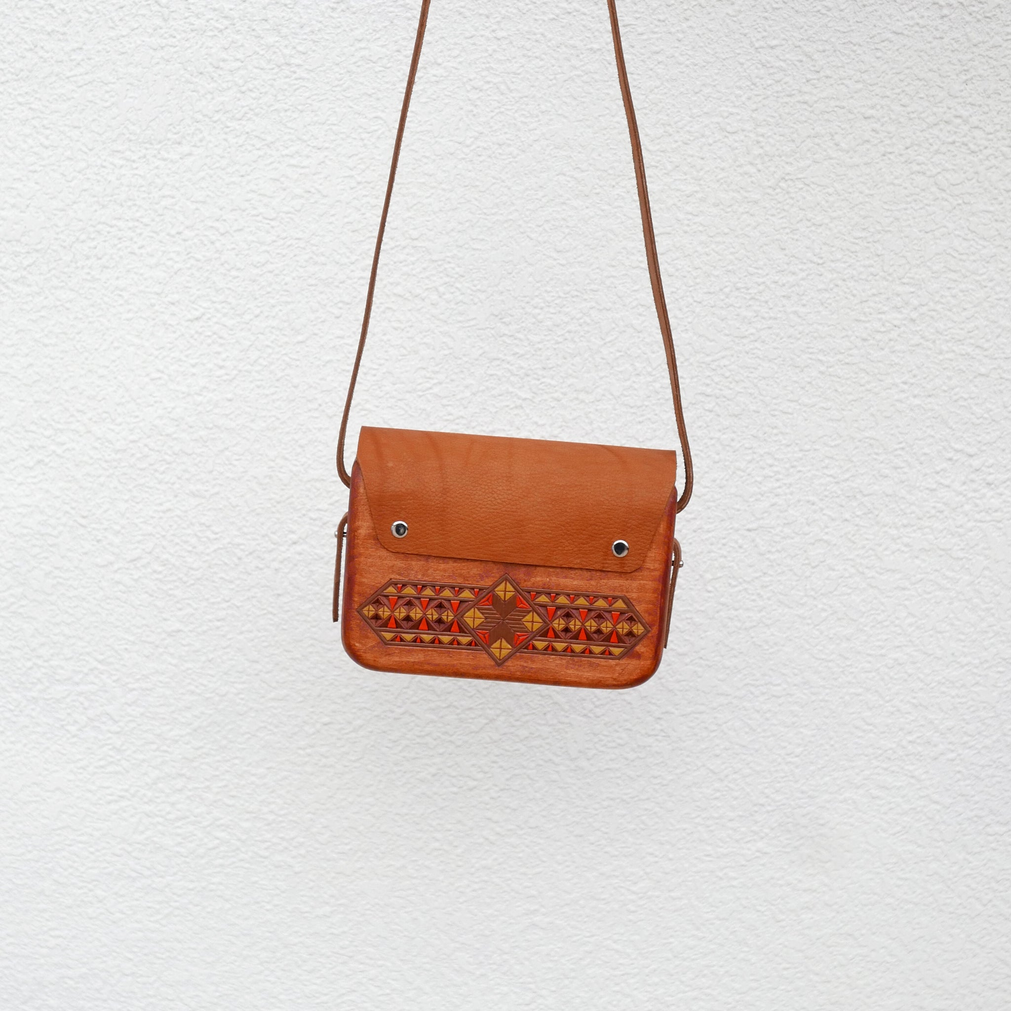 Wooden Bags (Rectangle 2 . sandy brown leather / walnut wood / coloured patterns)