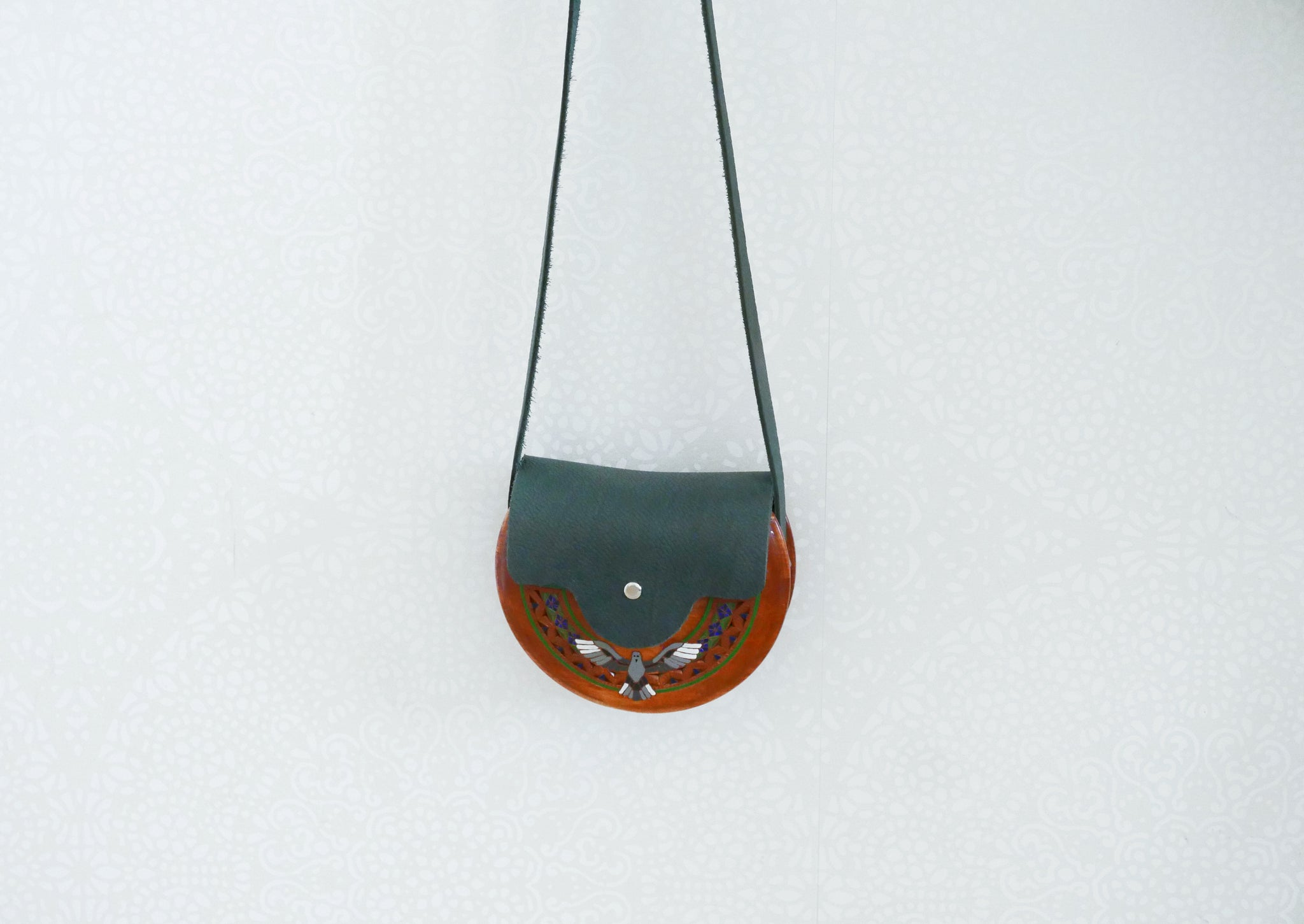 Wooden Bags (Half-Round . Green Leather / Walnut Wood / Coloured Dove)
