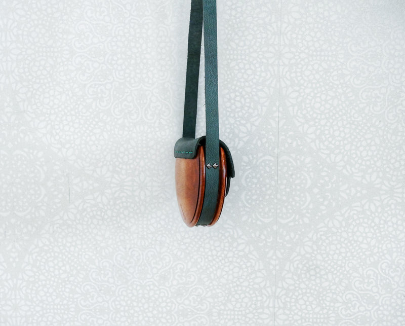 Wooden Bags (Half-Round 1 . green leather / walnut wood / coloured dove)
