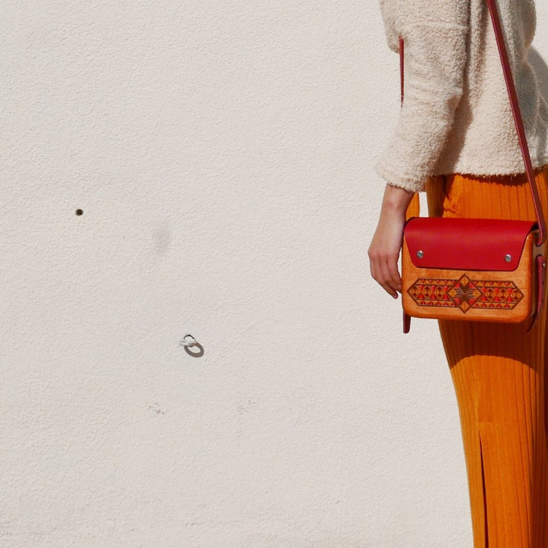 Wooden Bags (Rectangle 6 . red leather / walnut wood / coloured patterns)