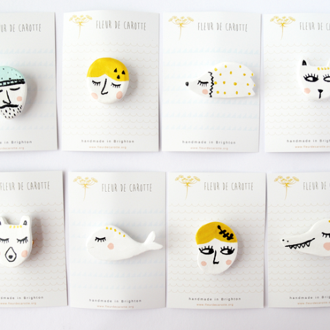 Animal Clay Brooches