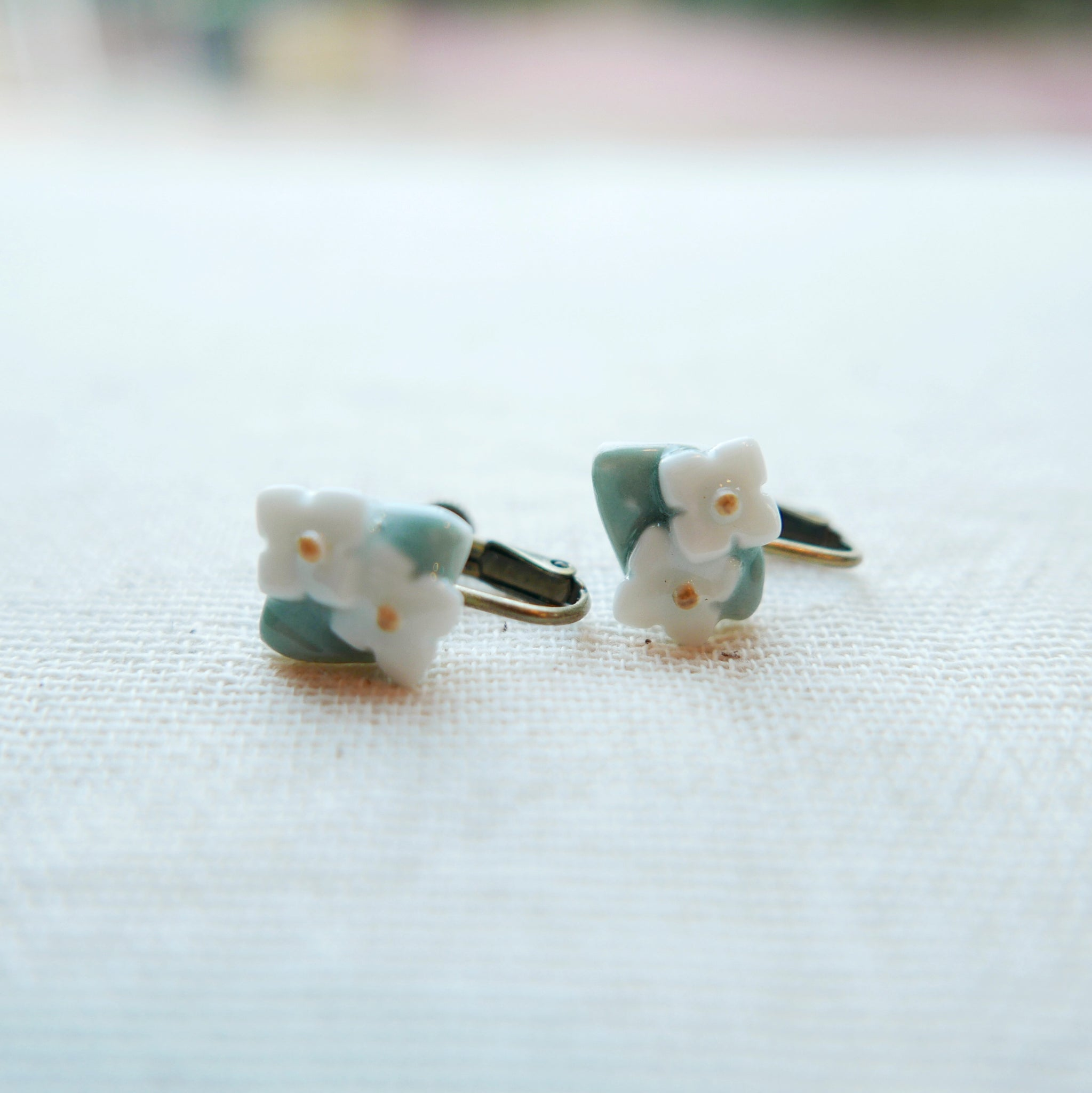 Lillies with Leaves Ceramic Earrings