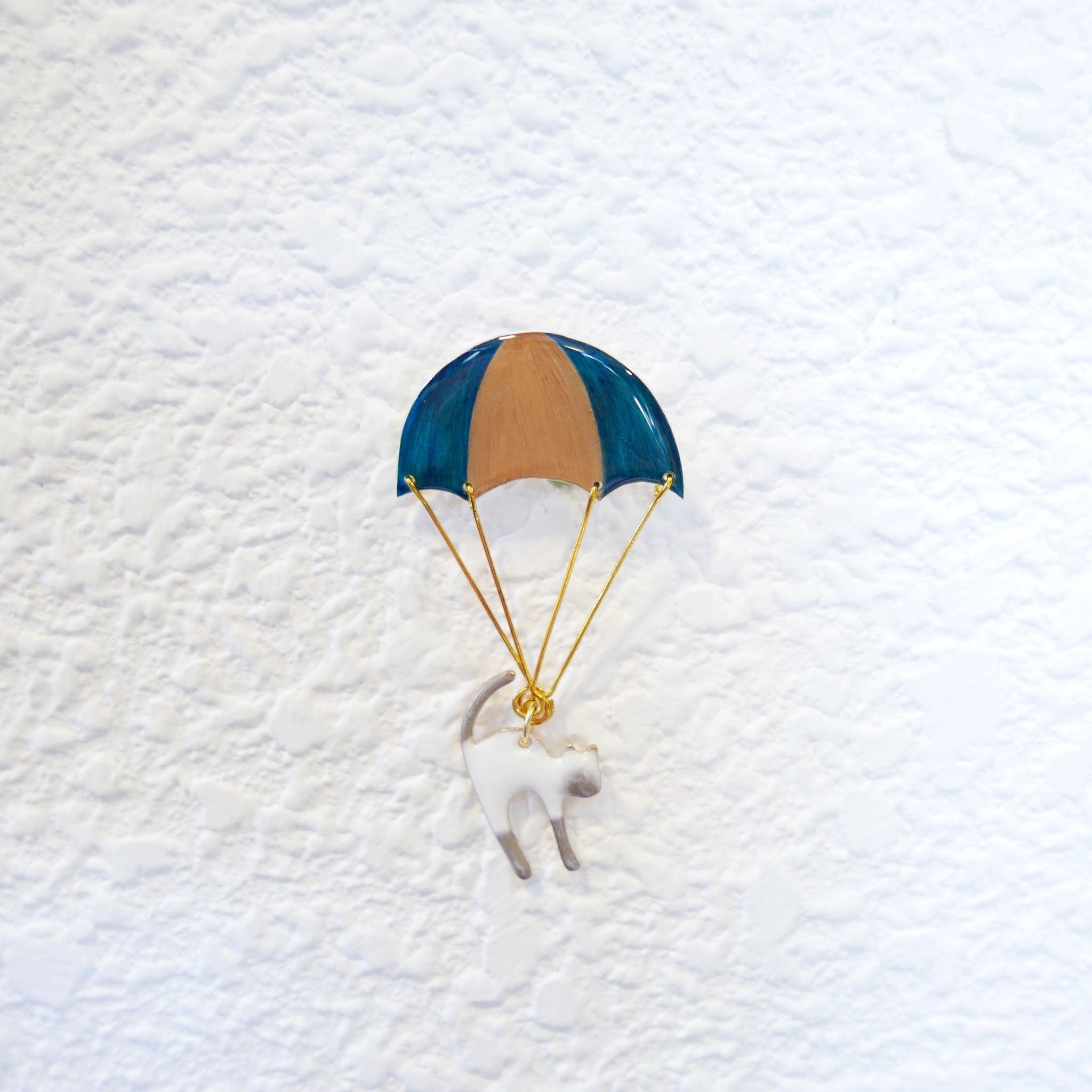 Cat With A Parachute Brooch