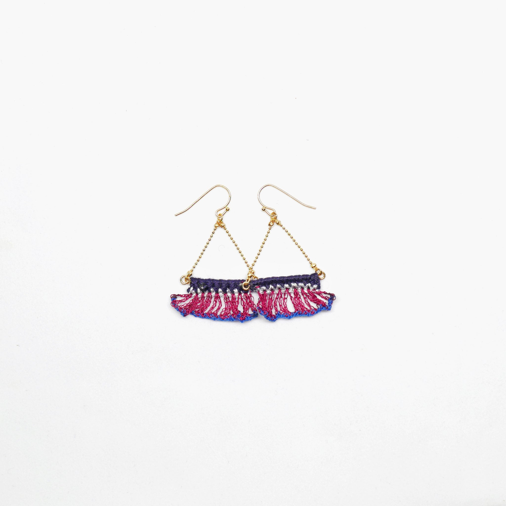 Knitted Fan Earrings (purple/ dark blue)