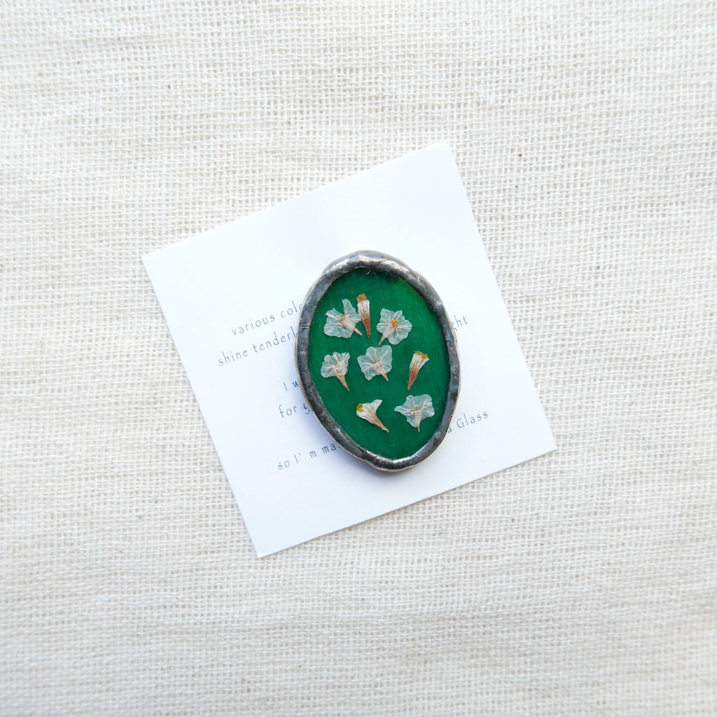 Made Of Glass Flower Brooch (Dark Green)