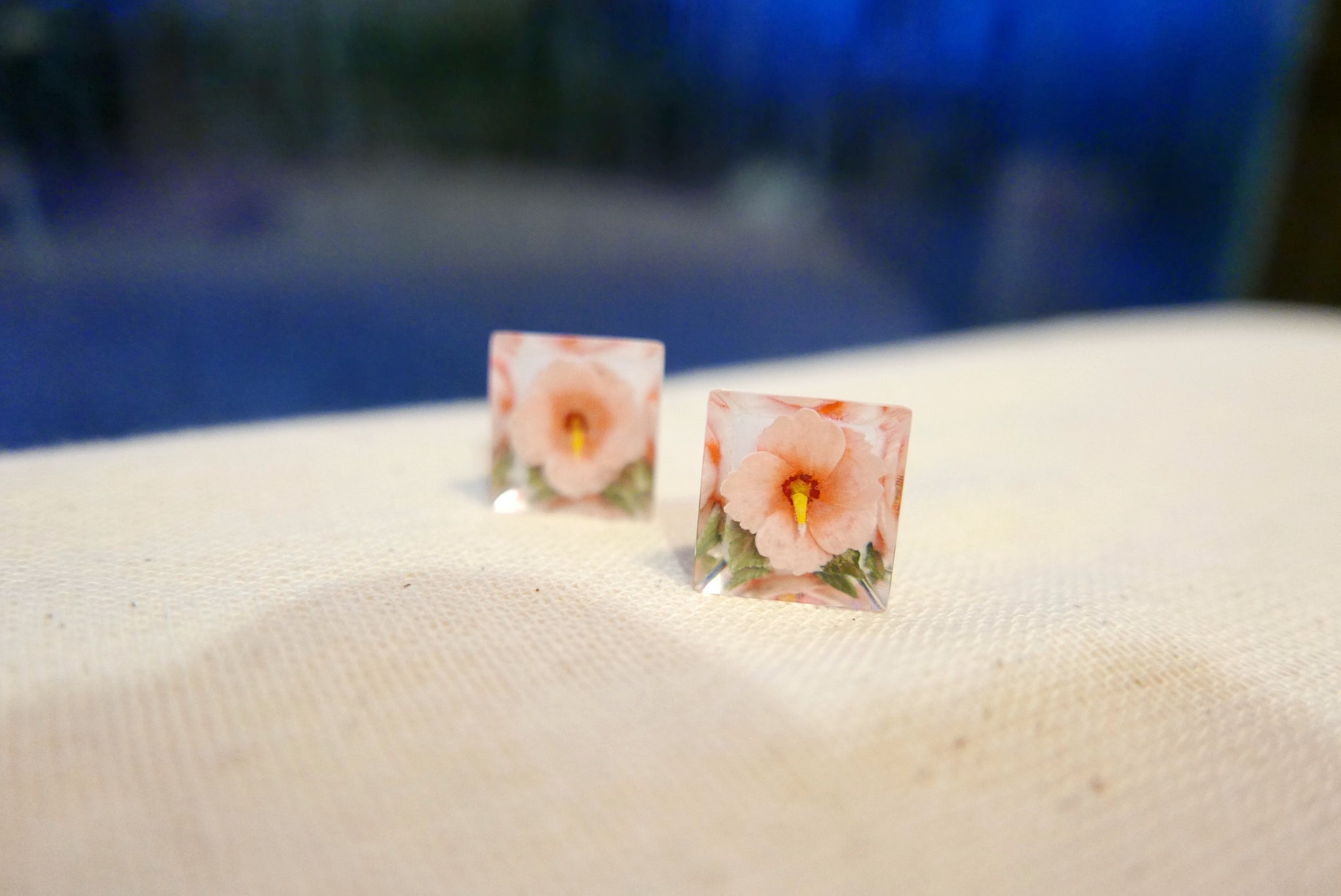 Rose Clip-on Studs  (Pink) . 粉紅玫瑰夾耳環