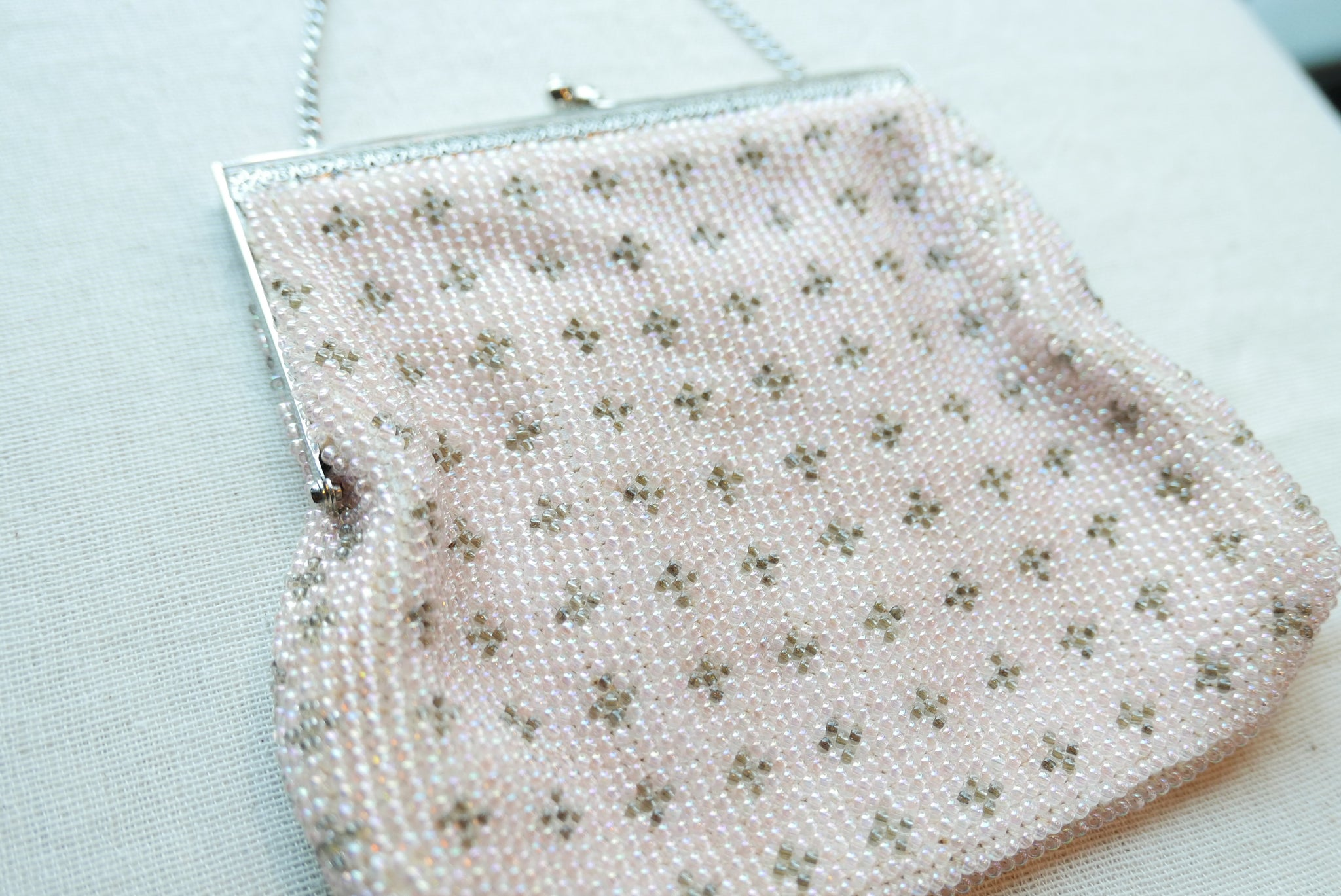 Pink Beaded Pattern Purse