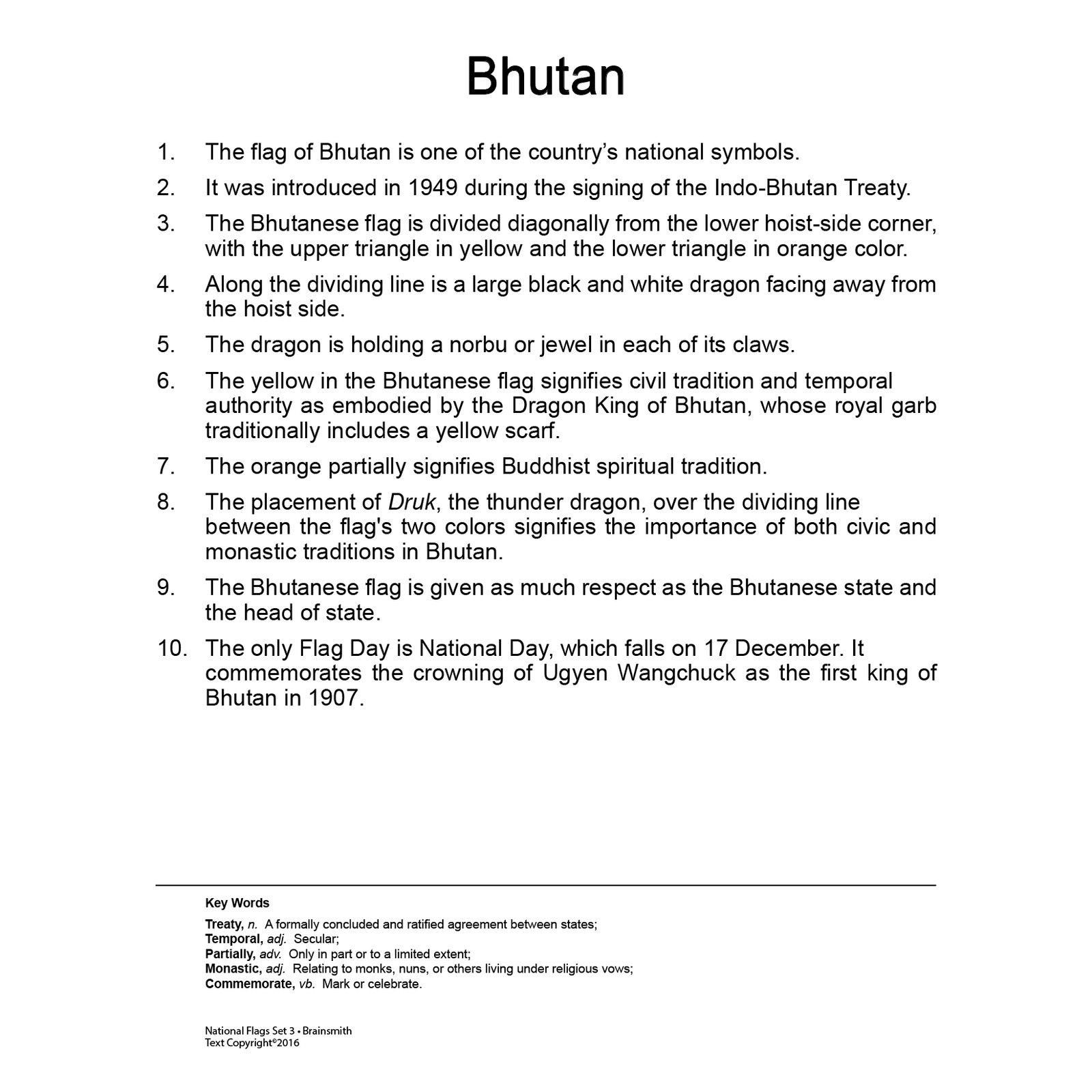 Flags Flashcards for Kids, National Flags, Bhutan flag