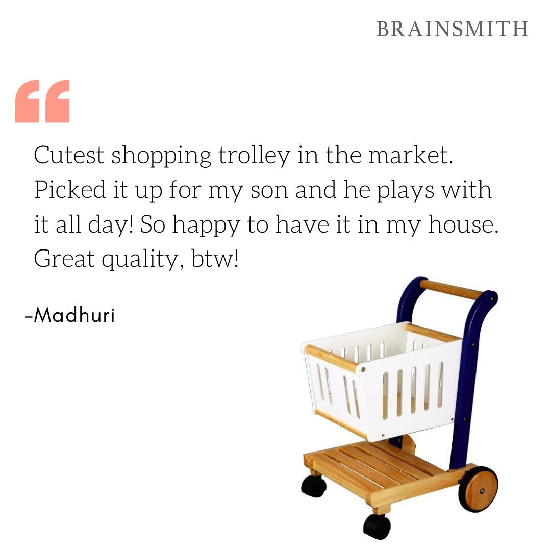 Kid's Wooden Shopping Cart