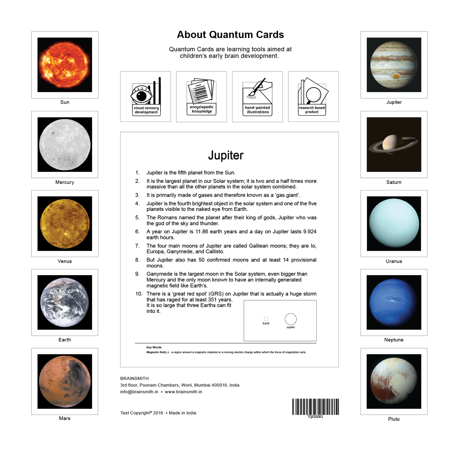 Solar System Flashcards for Kids, Solar System