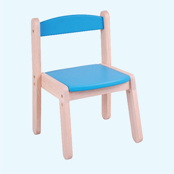 Blue wooden stackable chair for children's furniture