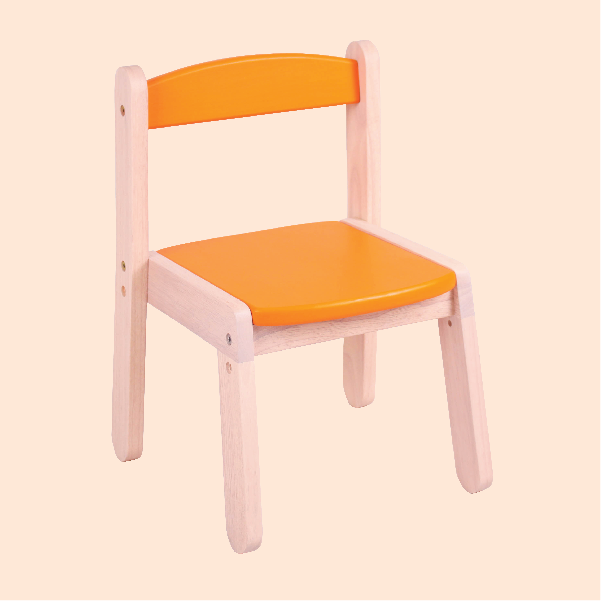 Wooden Stacking Chair - Fiery Orange