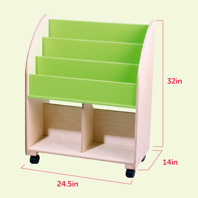 Wooden Bookshelf - Vibrant Green
