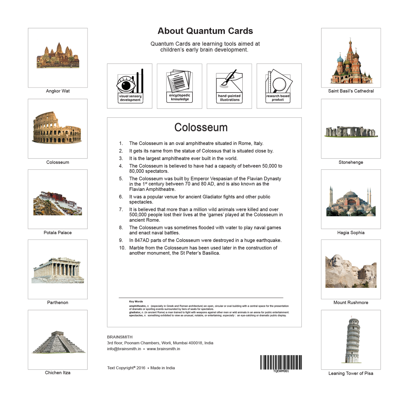 world monuments flashcards for kids