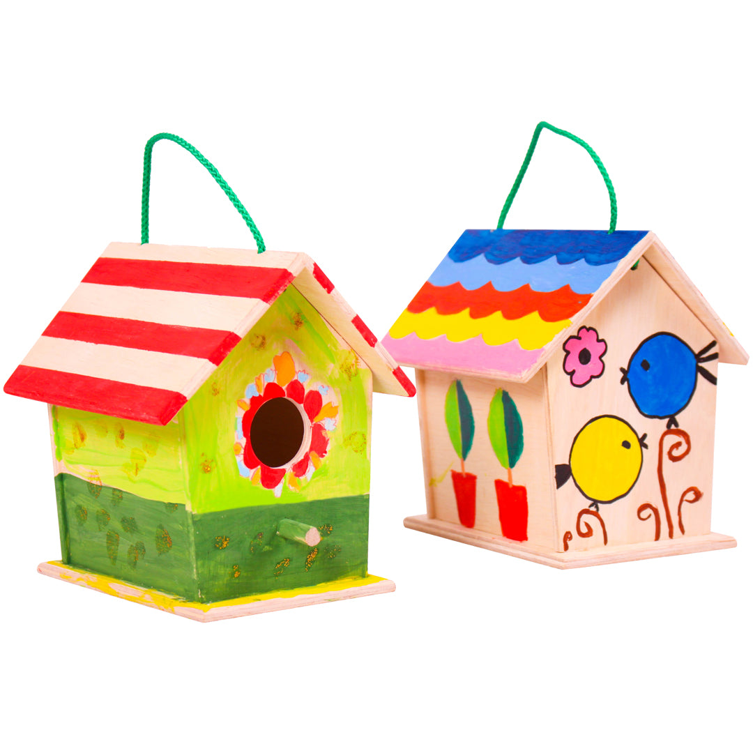 Paint and decorate birdhouses, diy activity, diy wooden birdhouse