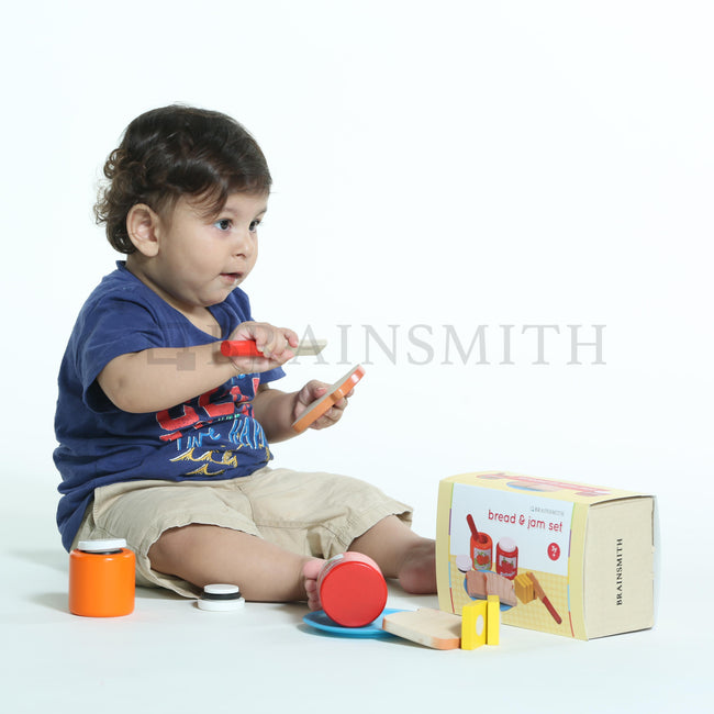 Brainsmith Wooden Toys, Pretend Play Toys, Bread and Jam Play Set