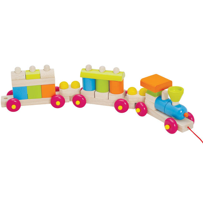 wooden toy train, coloured blocks train, wooden toy