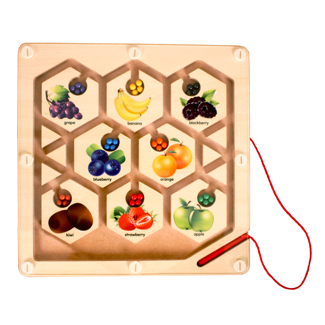 fruit games, wooden toys, magnetic maze game,