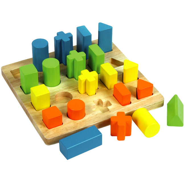 Wooden 3D Shape Sorting Board, Wooden Toys, Toddler Toys, colourful shapes toy, shape sorting wooden toy