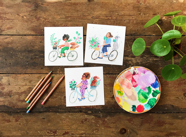 Set of 3 Square Postcards DOGS + BIKES + PLANTS