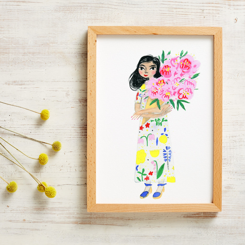 A Bouquet of Peonies Print