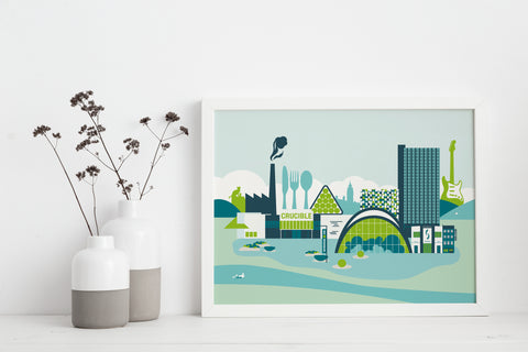 Sheffield City Centre in Spring Print