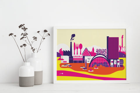 Sheffield City Centre in Summer Print