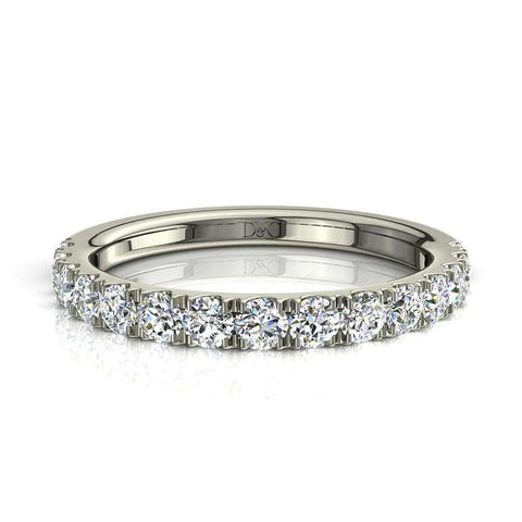 Demi-Alliance or diamants ronds 13 diamants 1 carat or blanc Adelia