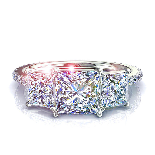 Solitaire trilogie diamants princesses 1.10 carats Azaria