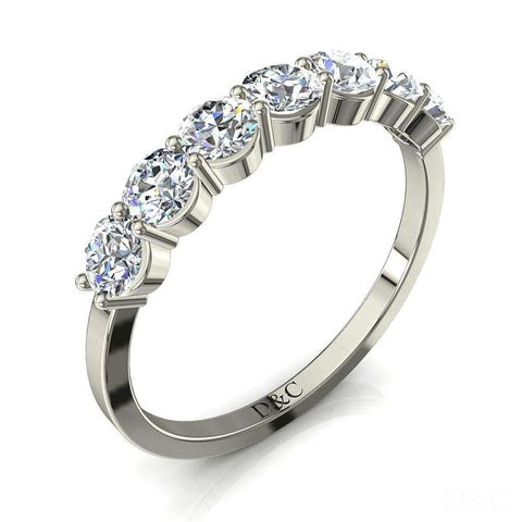 Demi-Alliance diamants ronds 7 diamants 0.50 carat or blanc Adia