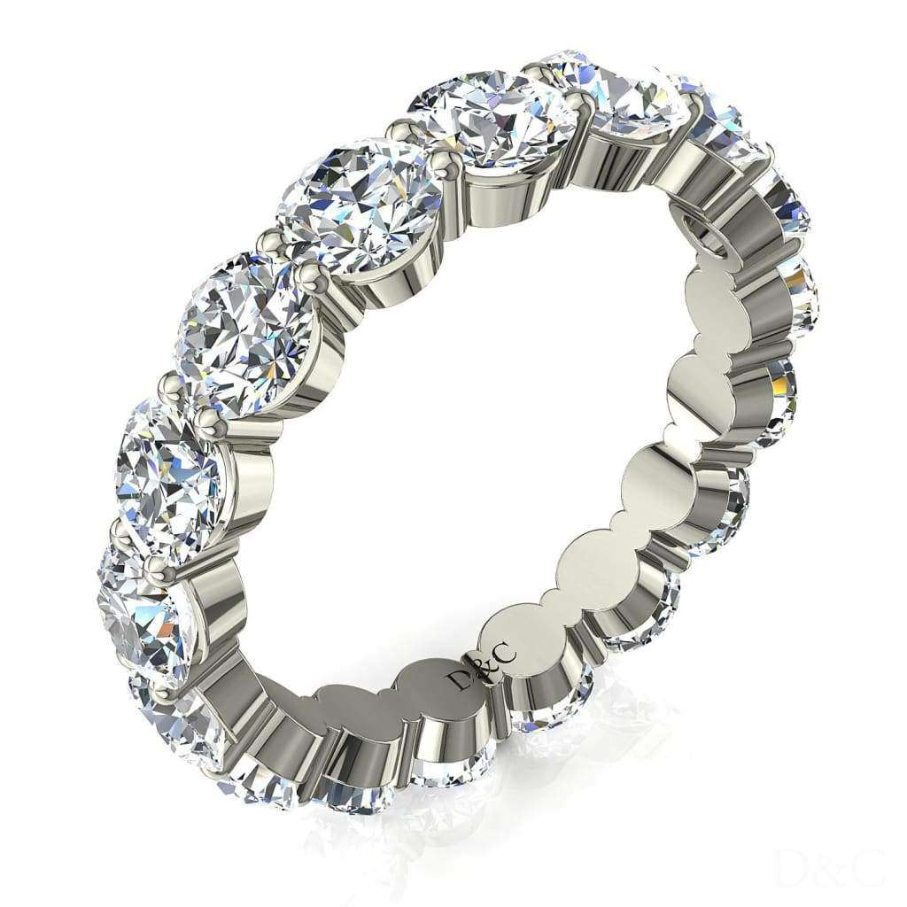 Alliance mariage femme diamants ronds 4 carats or blanc Acacias