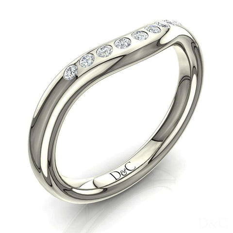 Alliance or et diamant , anneau diamant 9 diamants en or blanc 2mm Elvira