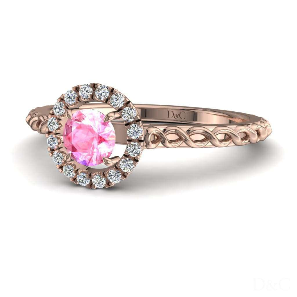 Bague de fiançailles en saphir rose et diamants en or rose 0,15 carats Camila