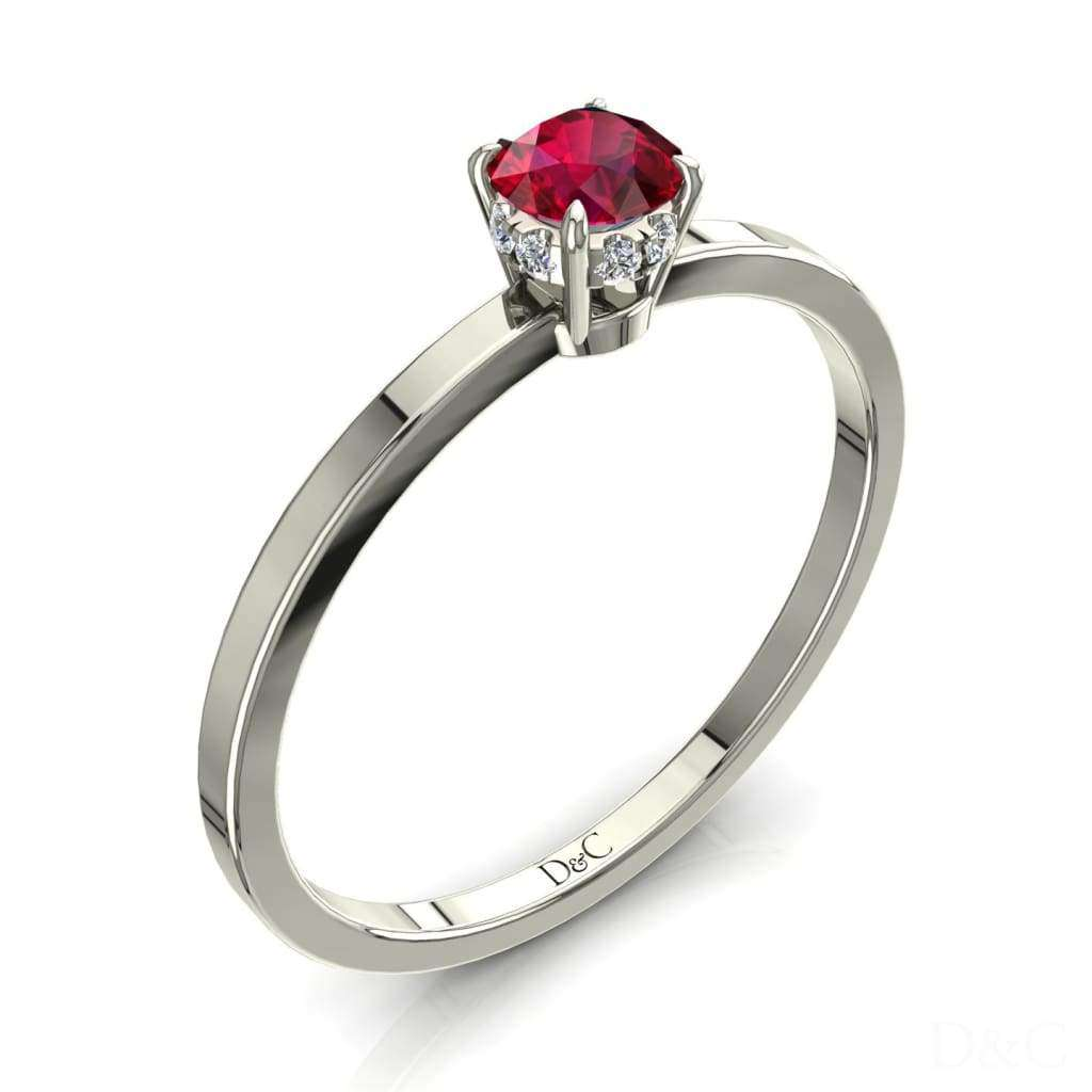 Bague De Fiançailles Rubis En Or Blanc 20 Carats Valenta - Copy-Of-Bague-De-Fiancailles-Rubis-En-Or-Blanc-0-15-Carats-Valenta Diamants Et
