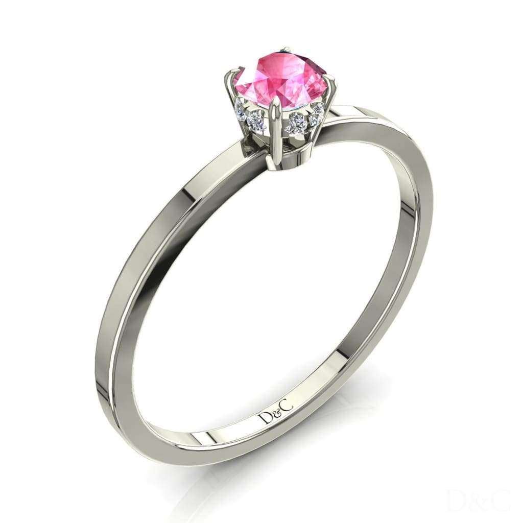 Bague De Fiançailles Saphir Rose En Or Blanc 15 Carats Valenta - Copy-Of-Bague-De-Fiancailles-Saphir-Rose-En-Or-Blanc-0-10-Carats-Valenta-1
