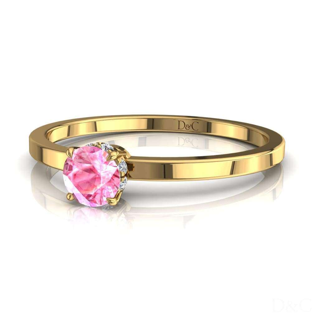 Bague De Fiançailles Saphir Rose En Or Jaune 15 Carats Valenta - Copy-Of-Bague-De-Fiancailles-Saphir-Rose-En-Or-Jaune-0-10-Carats-Valenta-1