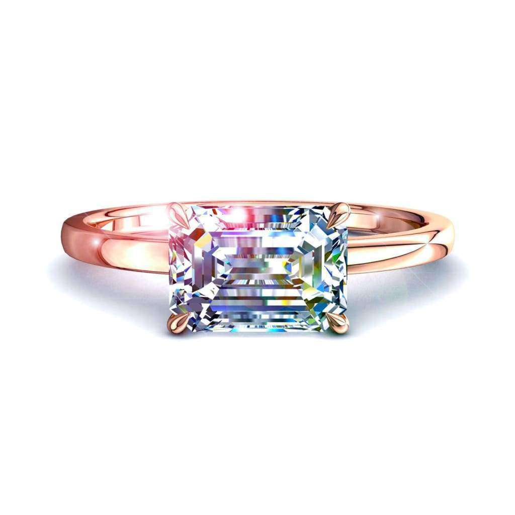Solitaire bague diamant Bella-émeraude 0.70 carat D / VVS / Or Rose 18 carats