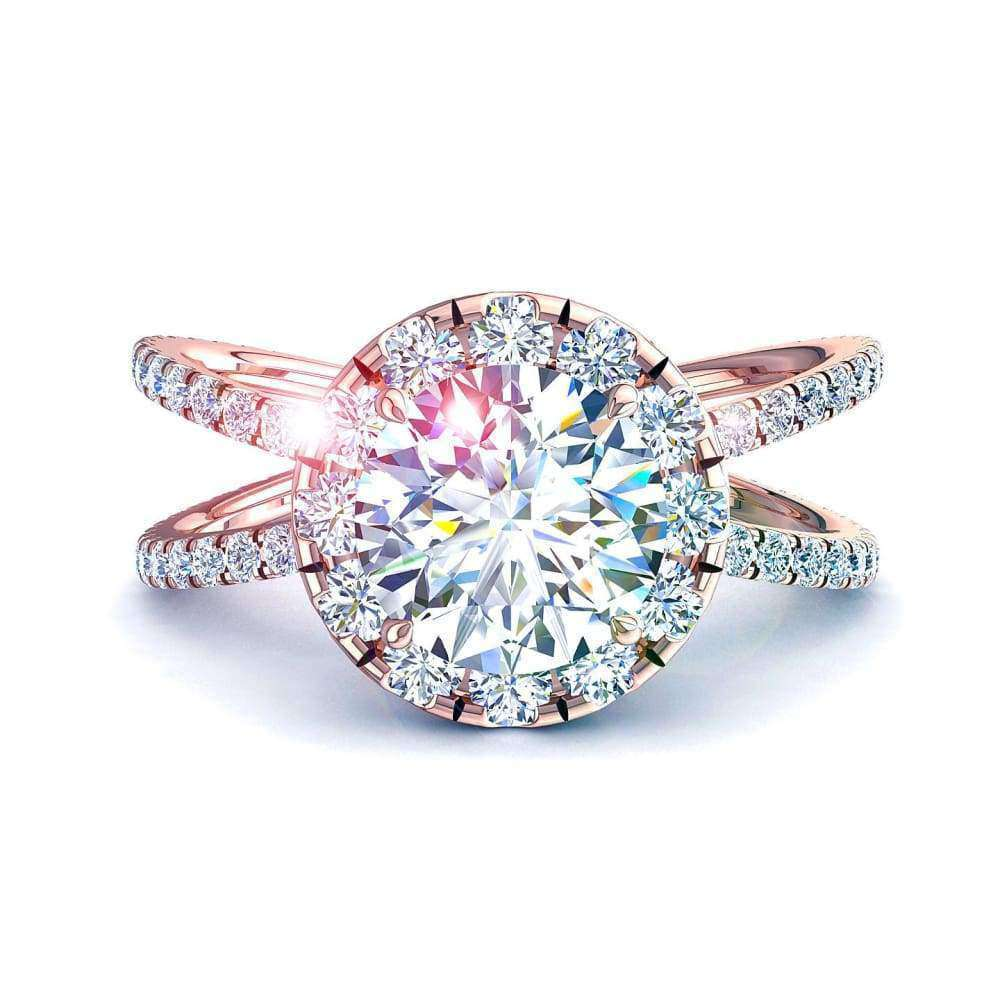 Solitaire bague diamant Isabelle-rond 1.45 carat D / VVS / Or Rose 18 carats