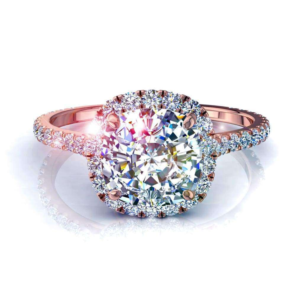 Solitaire diamant Camogli-coussin 1 carat D / VVS / Or Rose 18 carats