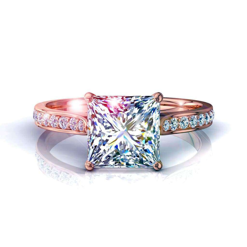 Solitaire bague diamant Ganna-princesse 0.80 carat D / VVS / Or Rose 18 carats