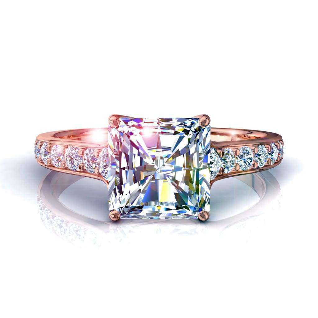 Solitaire bague diamant Cindirella-radiant 1 carat D / VVS / Or Rose 18 carats