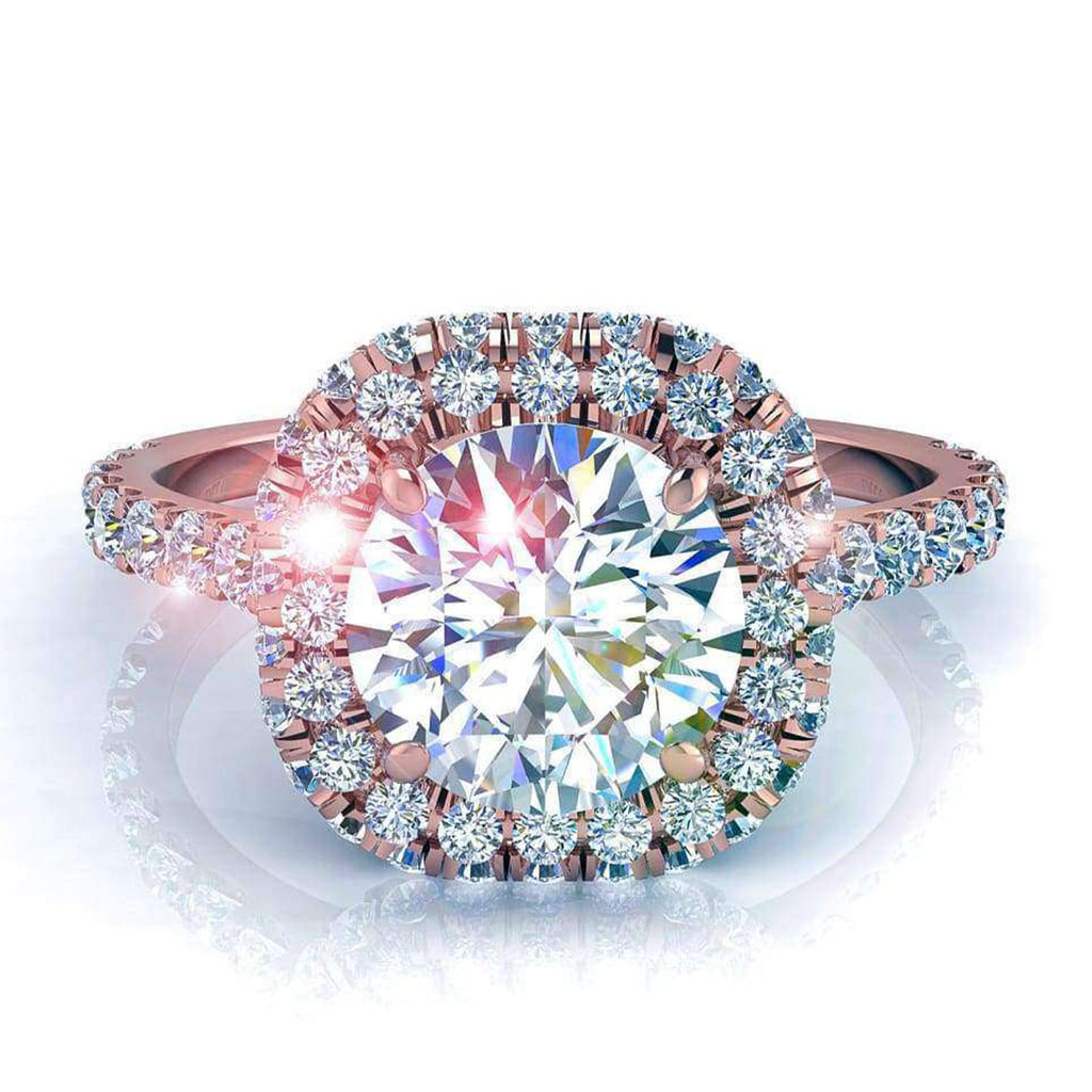 Solitaire bague diamant Margueritta-rond 0.90 carat D / VVS / Or Rose 18 carats