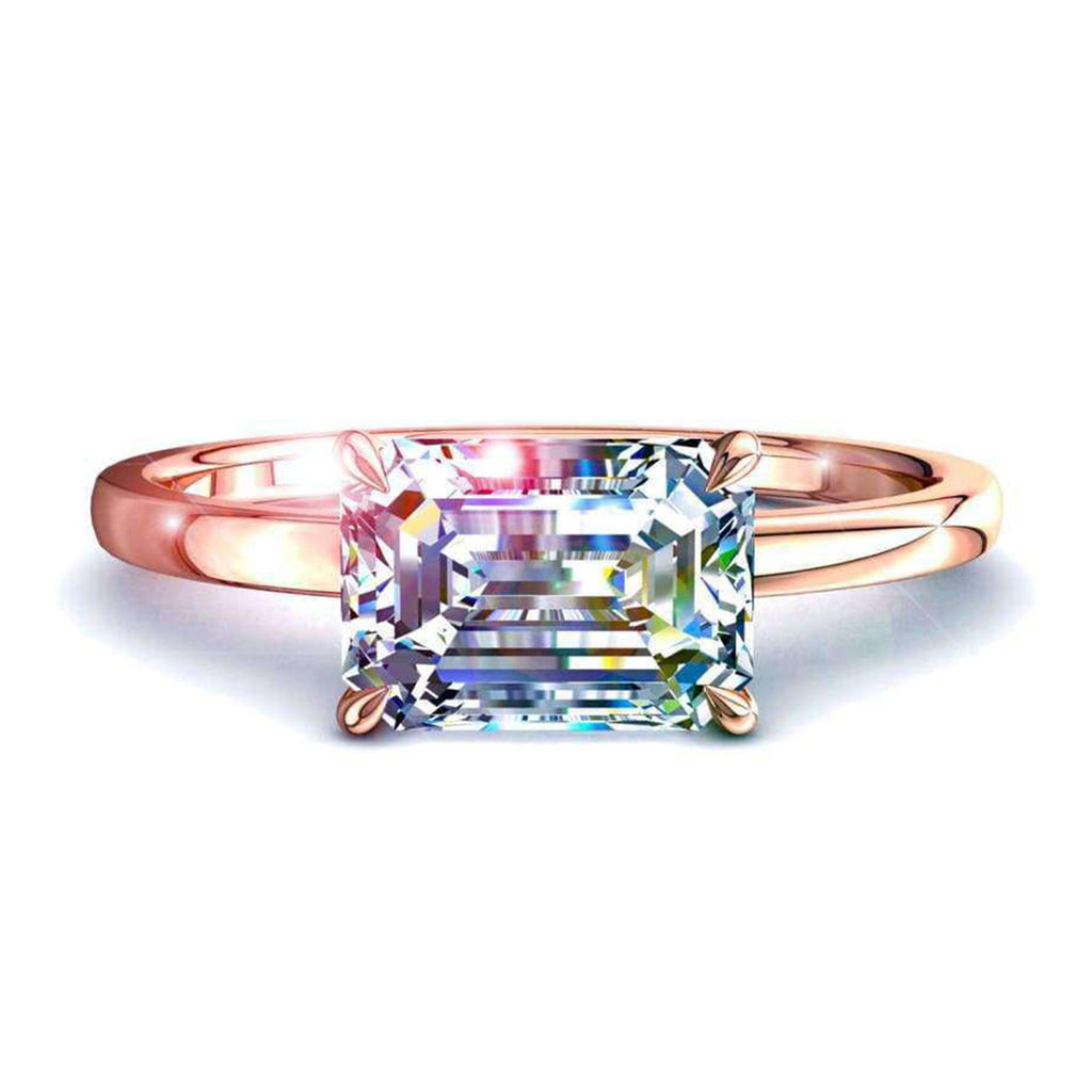Solitaire bague diamant Bella-émeraude 0.30 carat D / VVS / Or Rose 18 carats