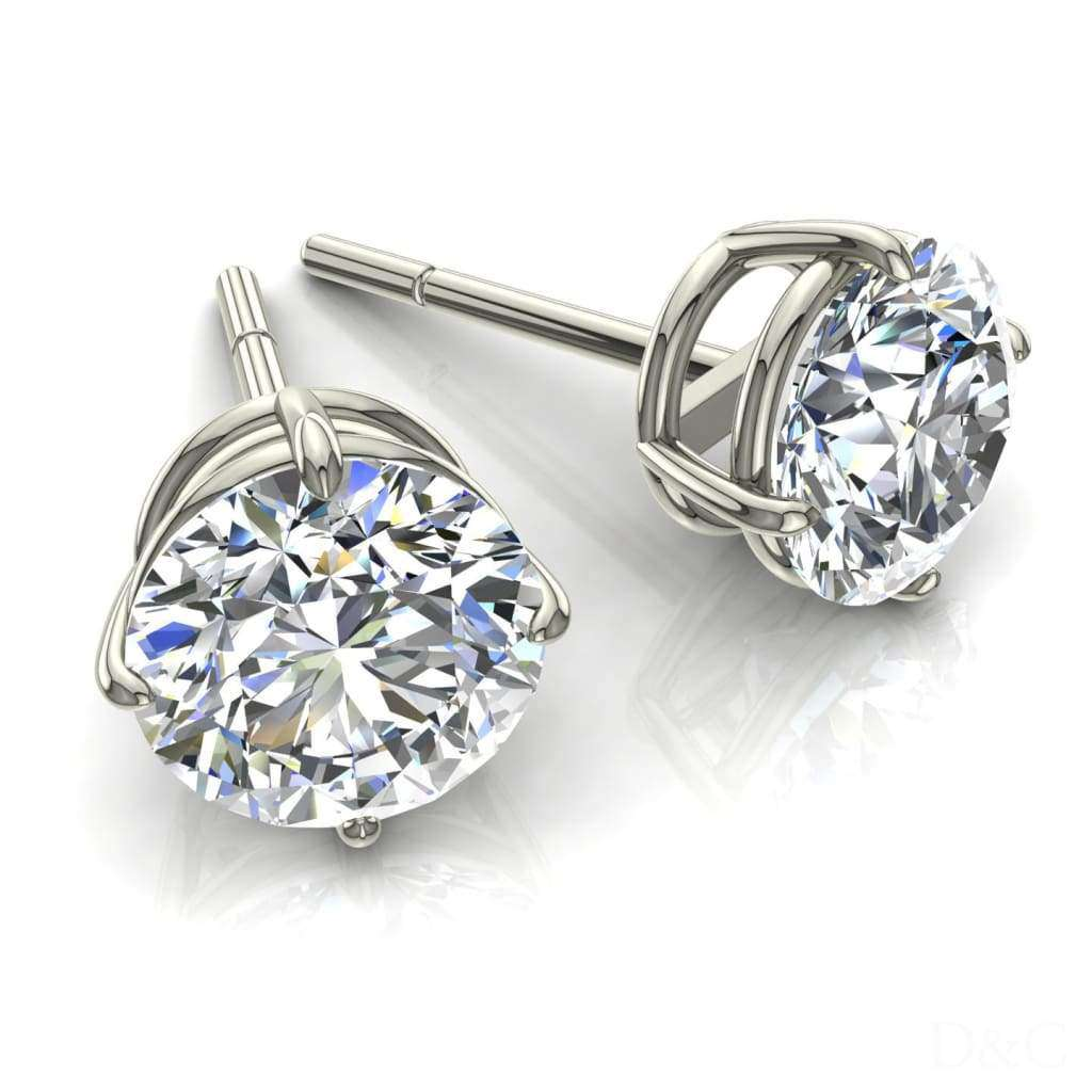 Boucles d'oreilles puces diamants ronds 0.42 carats et or blanc Irina